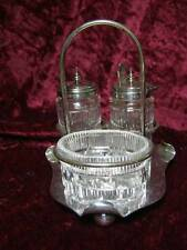 Antique x 3 Silver Plate Glass Cruet Condiment Set Salt Pepper Mustard Tableware