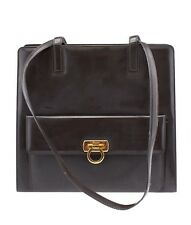 Salvatore Ferragamo Brown Leather & Patent Leather Shoulder Bag