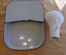 Old VTG Porcelain Enamel Hospital Bed Pan Urinal Set Enamelware