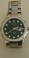 Bulova Watch Mens Marine Star Diamond  Silver Water Resistant 100ft C876763