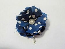 Hand Made Blue & White Polka Dot Flower Hair Clip Pin