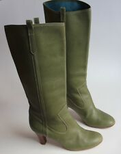 Marc Jacobs striking green leather heeled boots UK 9 Eu 42