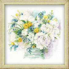 RIOLIS COUNTED CROSS STITCH KIT Watercolour Peonies Flower Embroidery Needlework