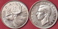 Almost Uncirculated 1949 Canada Silver 25 Cents