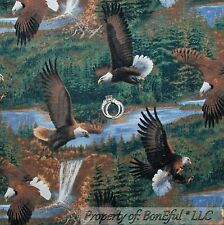BonEful Fabric FQ Cotton Quilt Green Eagle Mountain Tree Bird Scenic Waterfall