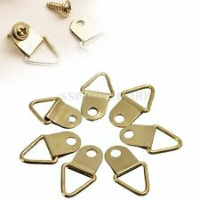 50Pcs/Pack Golden Brass Triangle Photo Picture Frame Wall Mount Hook Hanger Ring