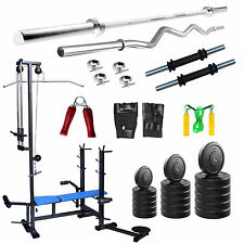 Fitpro Home Gym Set 50kg Weight,20 In 1 Bench, 3ft Curl Rod,5ft Plain Rod