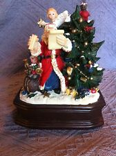 NEW SANTA WITH TREE/SNOWMAN/ANGEL MUSIC BOX ON WOODEN BASE