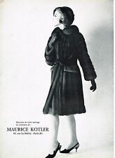 PUBLICITE ADVERTISING 054  1964  LA BOUTIQUE DE fourrures MAURICE KOTLER