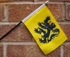 "FLANDERS HAND WAVING FLAG small 6"" x 4"" with 10"" pole FLEMISH BELGIUM BELGIAN"