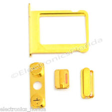 Lock Key Side Volume Mute Switch Power Button Buttons Set for iPhone 4 Gold  b81