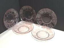 "CENTRAL GLASS BALDA ORCHID 5-3/4"" SAUCERS (5) FOR DOUBLE HANDLED CREAM SOUP BOWL"
