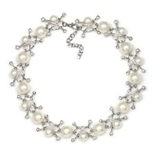 ZARA ELEGANT WHITE PEARLS CLEAR RHINESTONES NECKLACE- NEW BRIDAL WEDDING