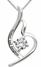 ALOV Silver mother and daughter Pendant Necklace for Birthday, Mother's day Gift