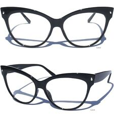 OVERSIZE CAT EYE Clear Lens Glasses Retro Vintage Design Fashion Black Frame New