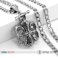 Men's Stainless Steel Gothic Crow Heart Cool Cross Pendant w Figaro Necklace P16