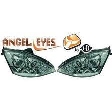 Coppia fari fanali anteriori TUNING FORD FOCUS 01-04 chrome con anelli ANGEL EYE