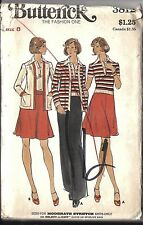 UNCUT Vintage Butterick Sewing Pattern Miss Top Skirt Pants Cardigan Jacket 3812