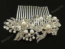 beautiful elegant flower bridal hair comb pearl and crystal for wedding party A8