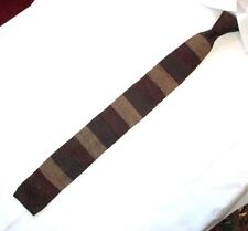 brooks Brothers silk & Linen brown striped knit tie made in Italy