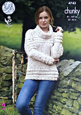 KNITTING PATTERN Ladies Long Sleeve Cowl Neck Jumper Chunky 4743 King Cole