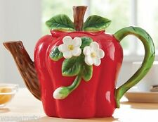 Decorative Red Apple Flower Blossom Collectible Teapot Country Kitchen Decor
