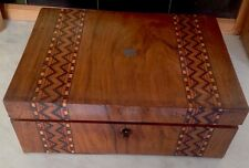Antique Tunbridge Ware Mahogany Work/ Sewing Box (lock/No Key) - 30X22x10.5cms