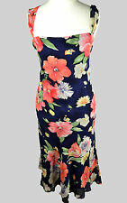 RALPH LAUREN UK10 100% SILK FLORAL STRAPPY DRESS BLUE PINK GREEN SUMMER COCKTAL