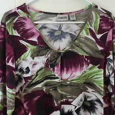Chicos 2 Colorful Floral Print Top Stretchy Rayon Pullover Knit Blouse 12 14 M L