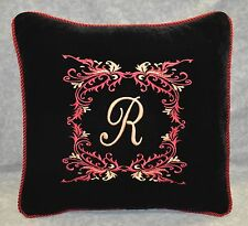 Custom Pillow Embroidered & Personalized on Black Velvet Fabric / trim cording