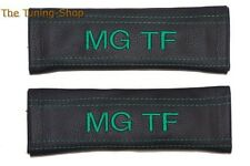 2x SEAT BELT COVERS PADS HARNESS LEATHER EMBROIDERY for MG TF Green stitching