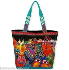 Laurel Burch Cat Fantasticats Large Shoulder Tote Bag Rainbow Colors Black NEW