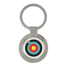 Archery Target Silver Tone Chunky Circular Keyring archer bowman toxophilite BN