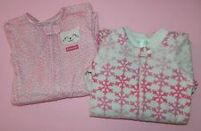 Lot of 2 CARTERS TCP Pink Snowflake Kitty Cat SLEEPERS Pajamas Pj's*  24 months