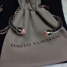 David Yurman Sterling Silver Morganite & 14K Gold 5mm Cable Cuff Bracelet