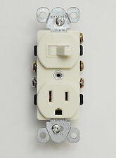 Almond Toggle Switch Receptacle Combo,15A Single Pole/SPST Outlet with Switch
