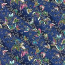 Furai Fabric - Metallic Butterflies - Navy - 100% Cotton
