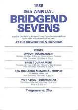 BRIDGEND  (35th ANNUAL)RUGBY SEVENS PROG 1986 Bridgend, South Wales Police,