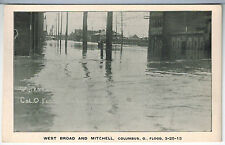 OHIO Columbus FLOOD of March 25 1913 WEST BROAD & MITCHELL Vintage Photo PC