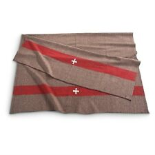 New Swiss Army Military Surplus Wool Blanket, Brown / Red Stripes
