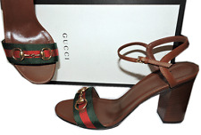 Gucci Web Signature Sandals Gold Horsebit Chunky Heel Slingback 41 Shoe Pump