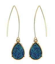 G14 Indigo Blue Teardrop Druzy Drop Earring Fish Hook Long Gold Tone NEW