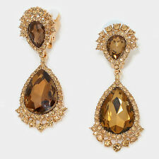 "2.75"" gold topaz teardrop crystal rhinestone clip on earrings non pierced"