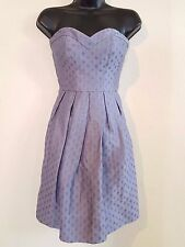 REBECCA TAYLOR Silk Linen Periwinkle Blue Sweetheart Strapless Cocktail Dress