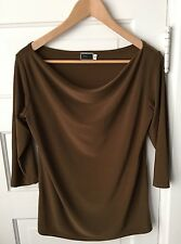 Sympli the Best Top Sz 6 Brown Cowl Neck Knit Blouse Drape 3/4 Sleeves Polyester