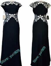 Tadashi Shoji Black Light Pearl Cap Sleeve Lace Accent Formal Gown Size 10 $508