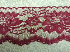BURGUNDY / LACE - 3 in. wide - 5 yds. - WEDDING - RUNNERS - INVITATIONS - TRIM