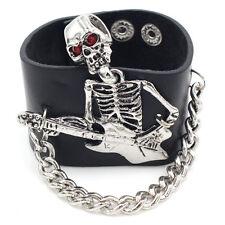 Punk Mens Boy Rock Skeleton Skull Guitar Link Chain Leather Bracelet Cuff Bangle