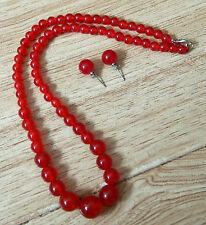 New 6-14mm Natural Red Ruby Round Beads Necklace Earrings Set
