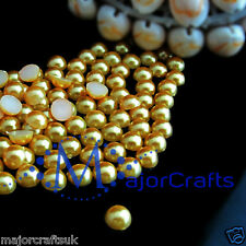 100pcs Yellow Gold 10mm Flat Back Round Resin Pearls DIY Diamante Craft Beads